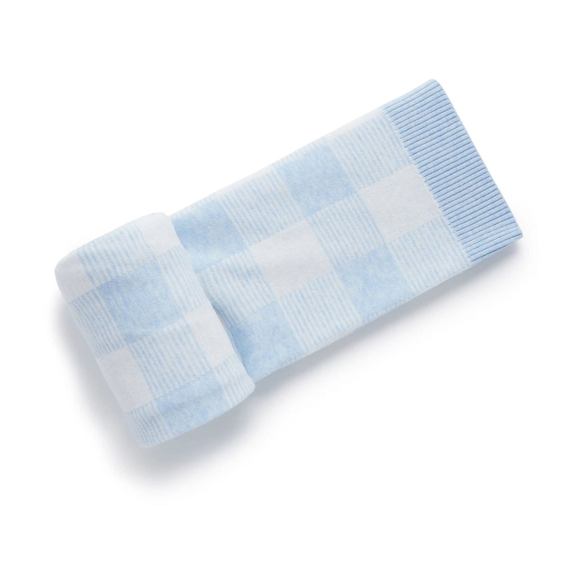 Pure Baby Gingham Blanket Soft Blue