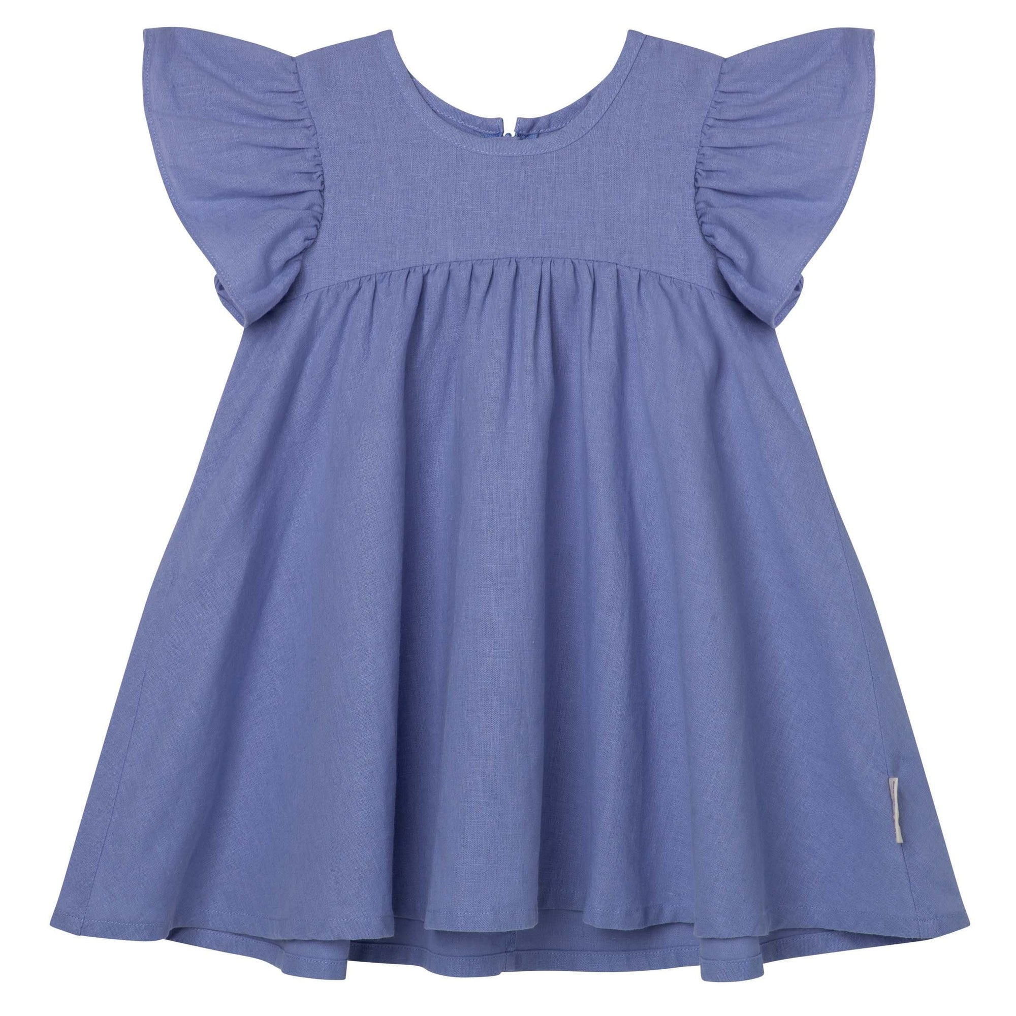 Designer Kidz Frill Sleeve Dress - Pacific Blue