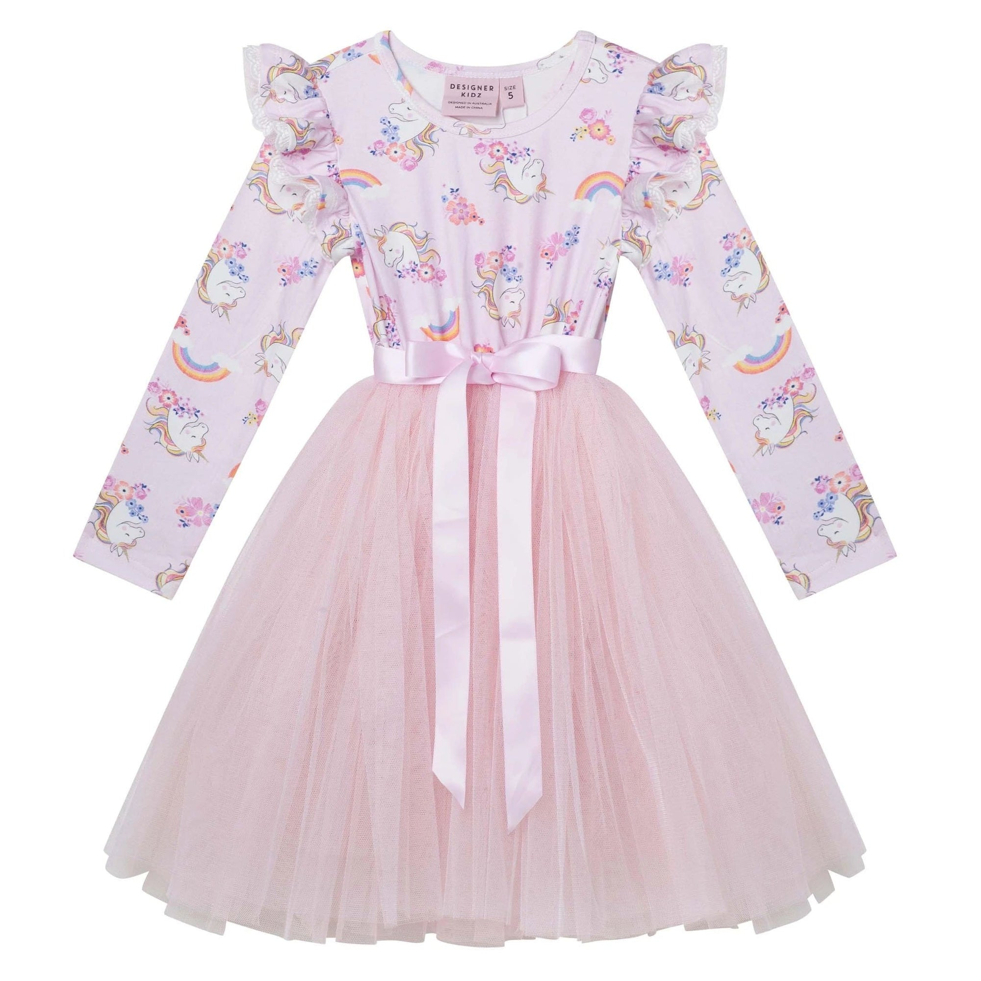Designer Kidz Enchanted Unicorn L/S Tutu Dress (5263015641241)