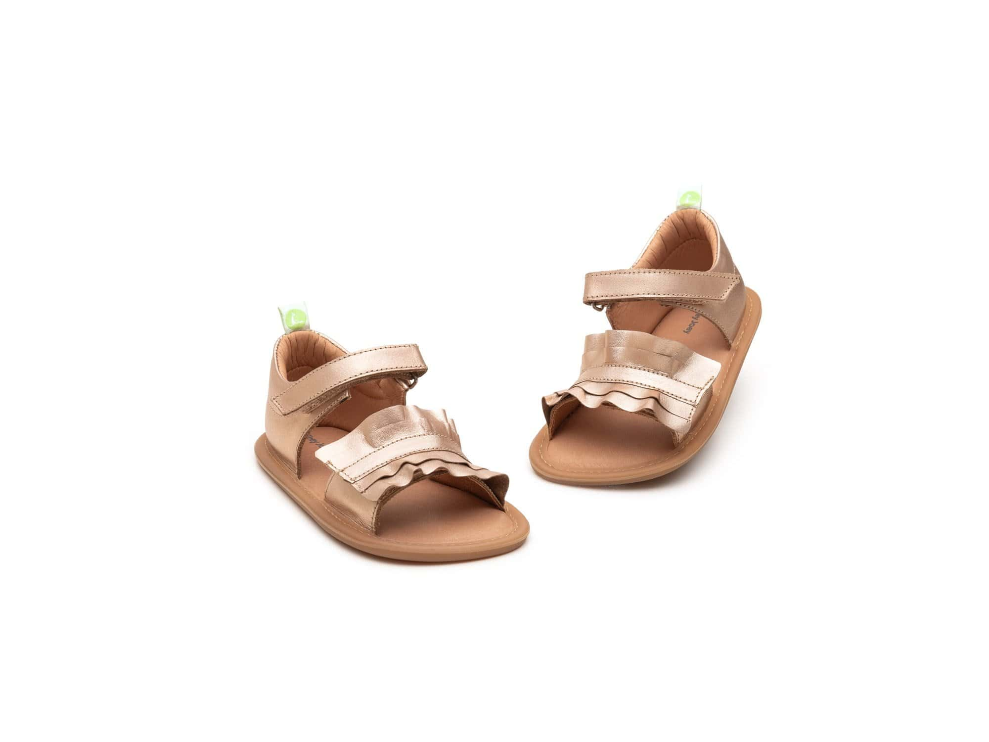 Tip Toey Joey Ruffy Sandals - Metalic Salmon