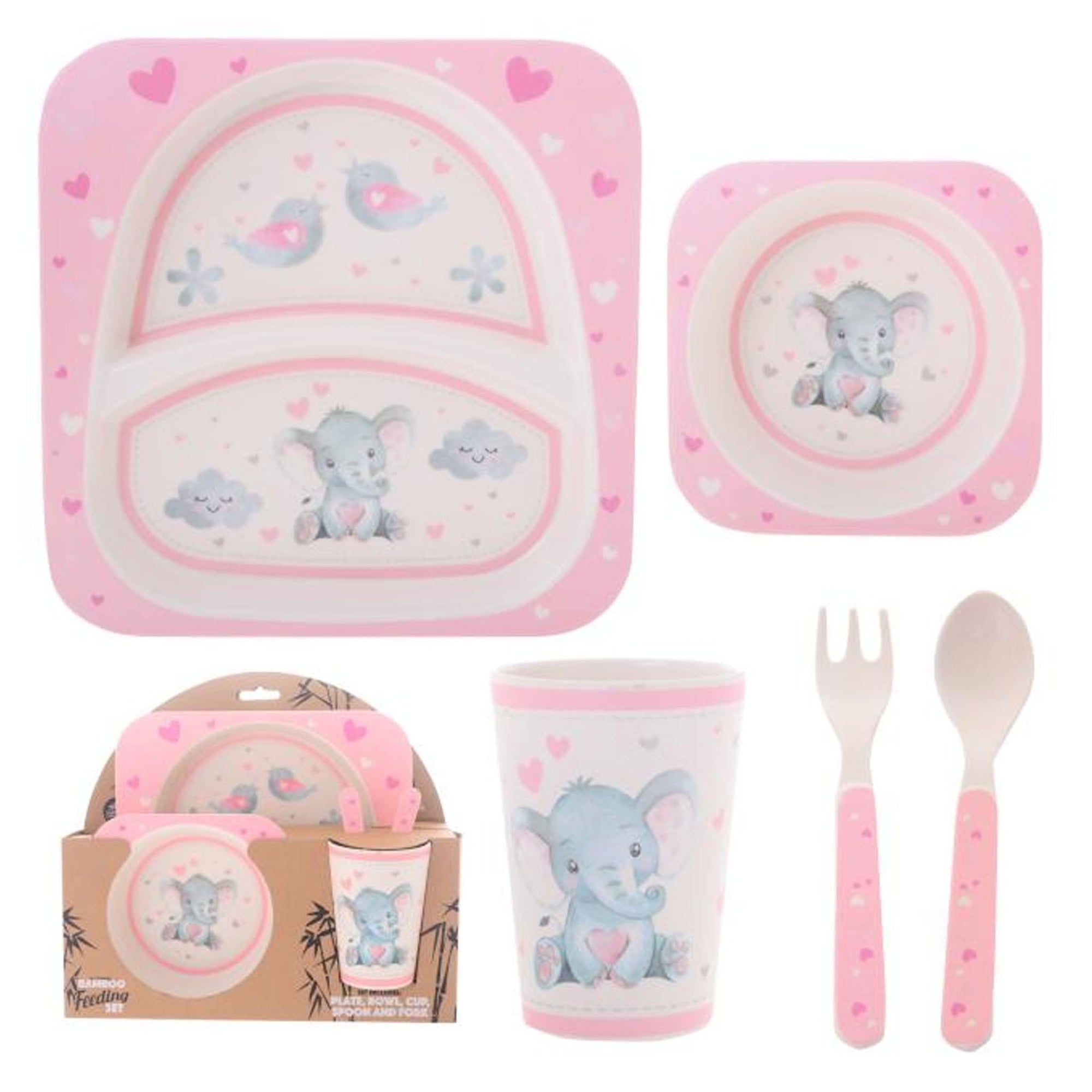 Baby Girl Elephant 5 Piece Dining Set