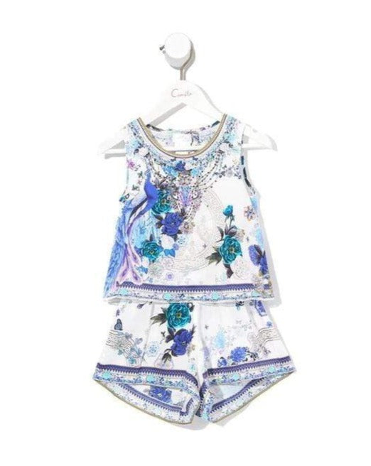Camilla White Side of The Moon Kids Double Layer Playsuit