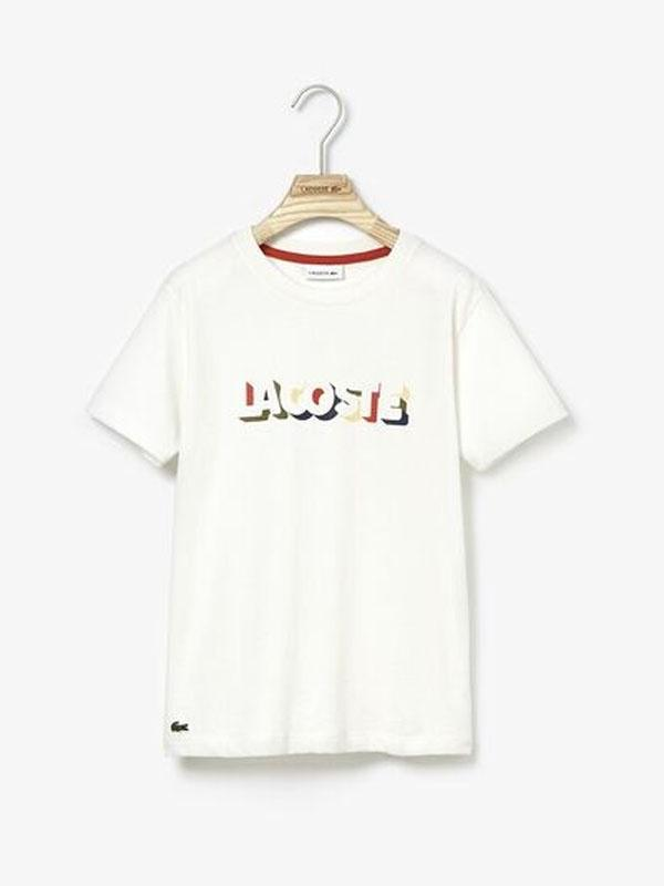 Lacoste Boys Letter Tee Off White