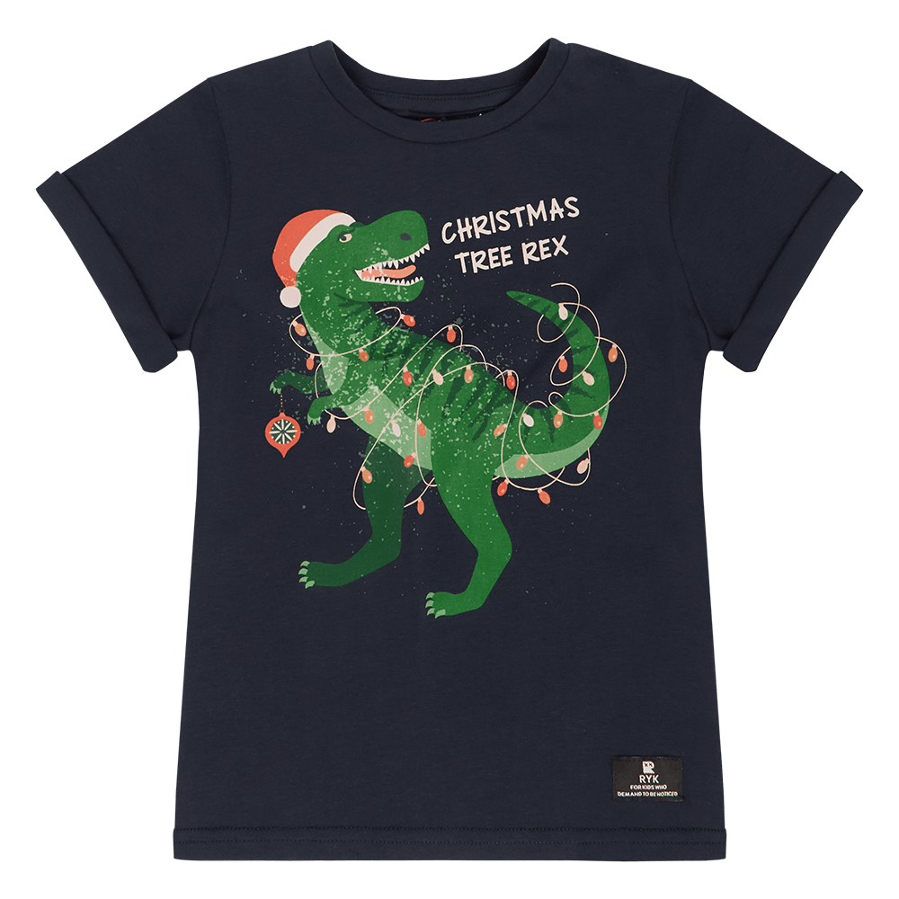Rock Your Kid Christmas Tree Rex T-Shirt