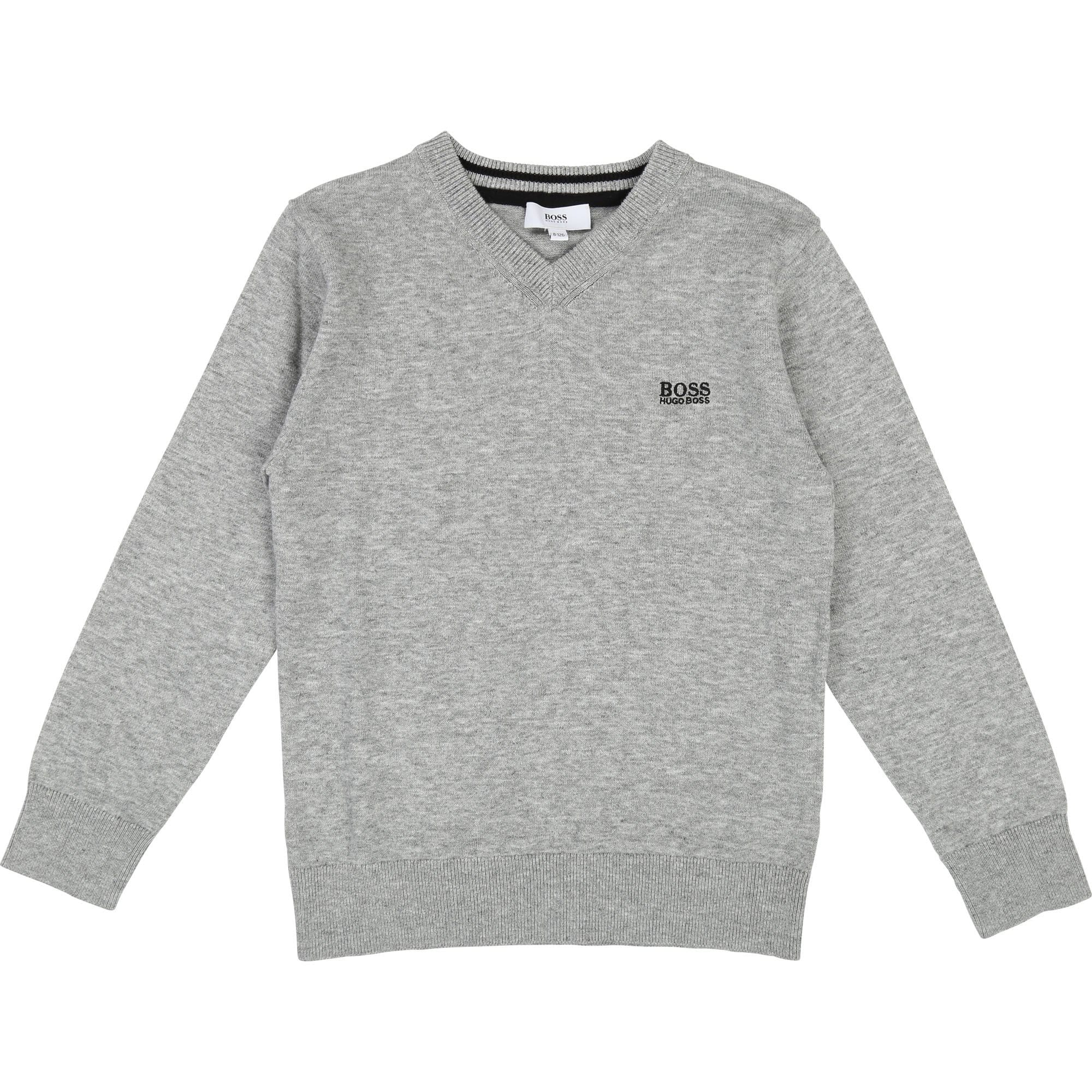 Hugo Boss Knit V- Neck Pullover Grey Marle