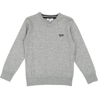 Hugo Boss Knit V- Neck Pullover Grey Marle (4686075691139)