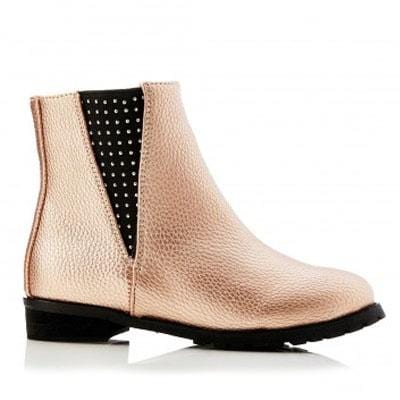 Walnut Genie Gusset Ankle Boot Rose Gold