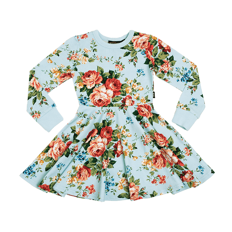 Rock Your Kid French Floral LS Waisted Dress (4636111863939)