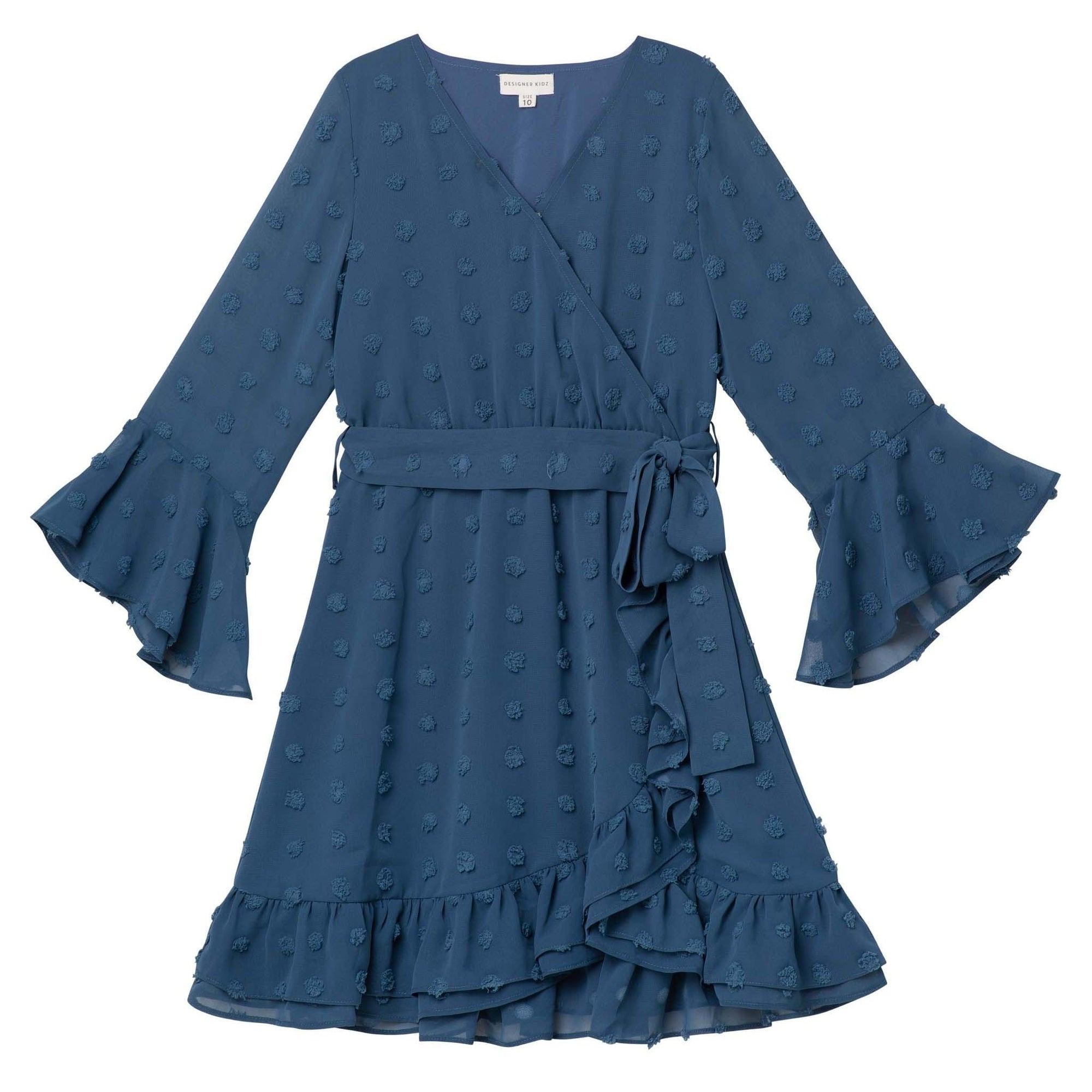 Designer Kidz Winnie L/S Wrap Dress - Navy