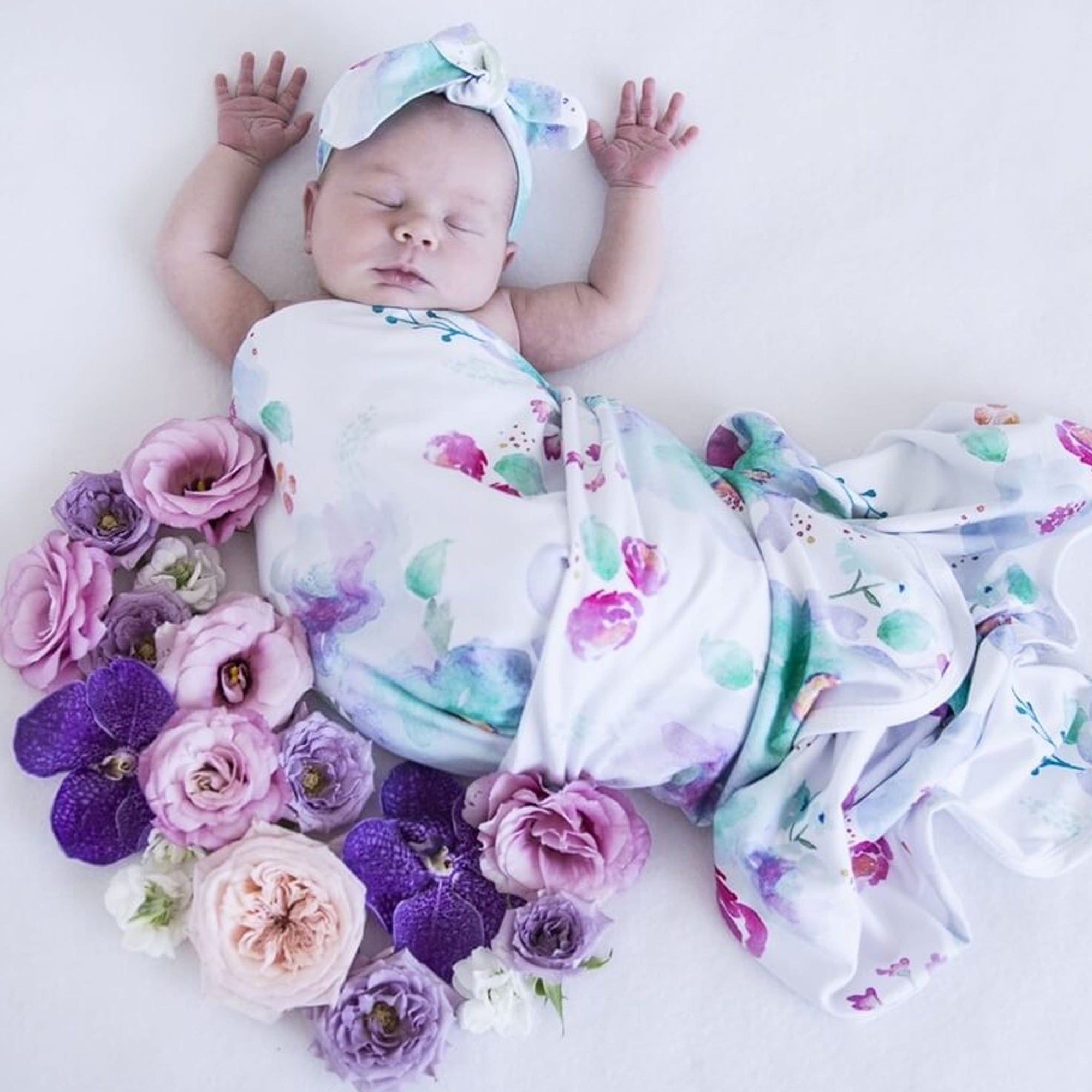 Snuggle Hunny Sweet Petal Baby Jersey Wrap and Topknot Set