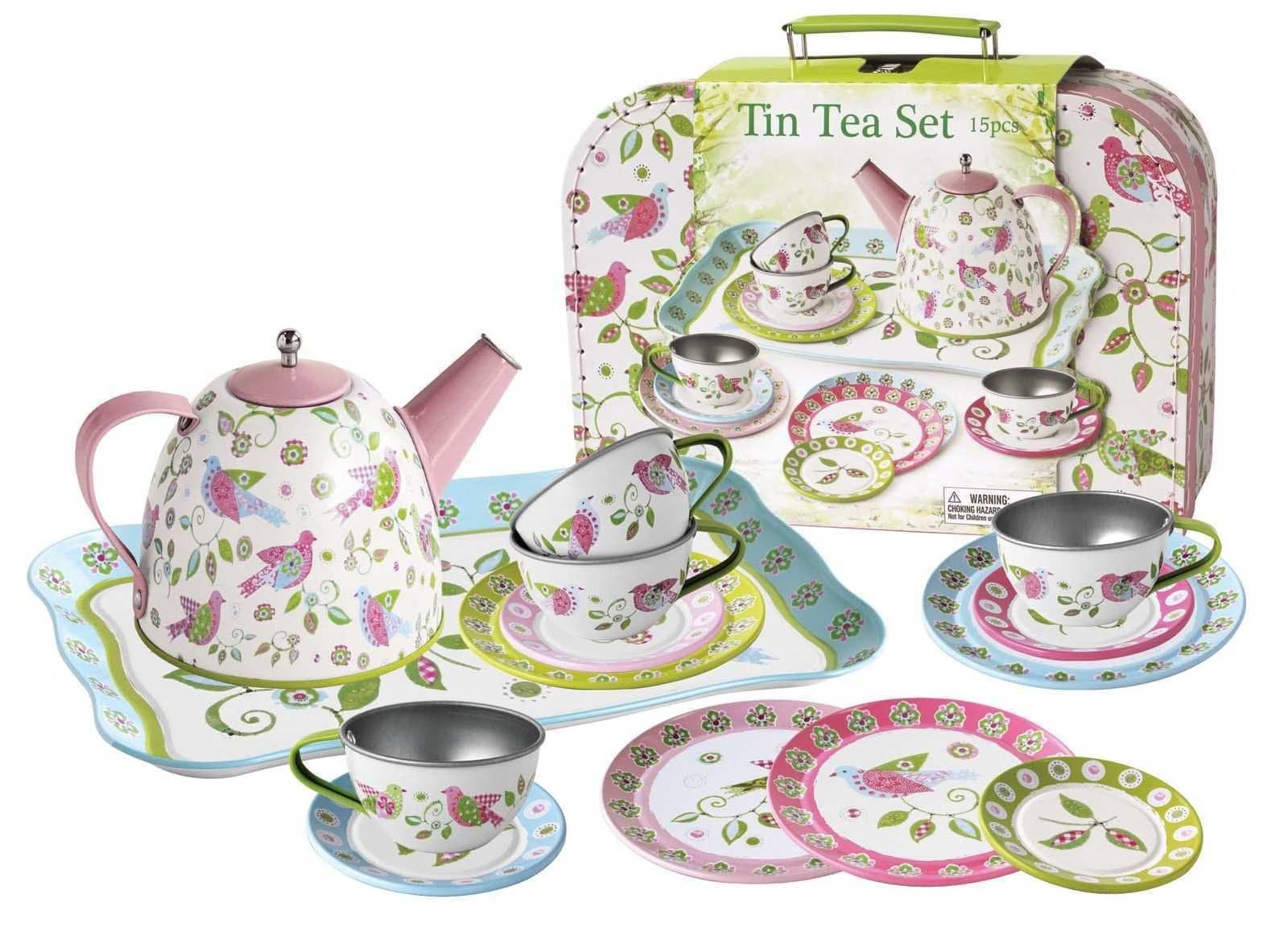 Eleganter Bird Tin Tea Set In Suitcase