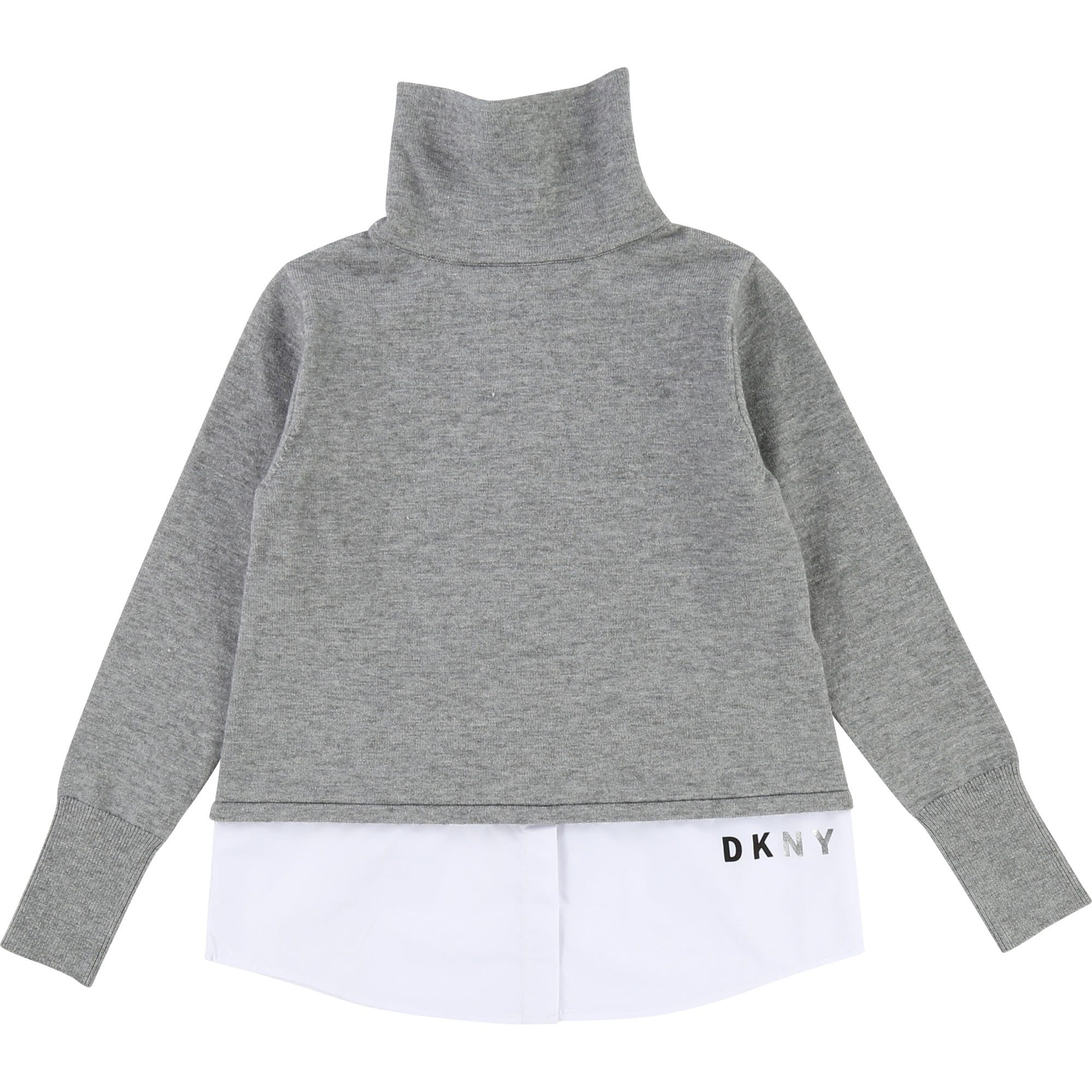 DKNY High Neck Layered Knit Jumper Grey Marle D35N78/A41
