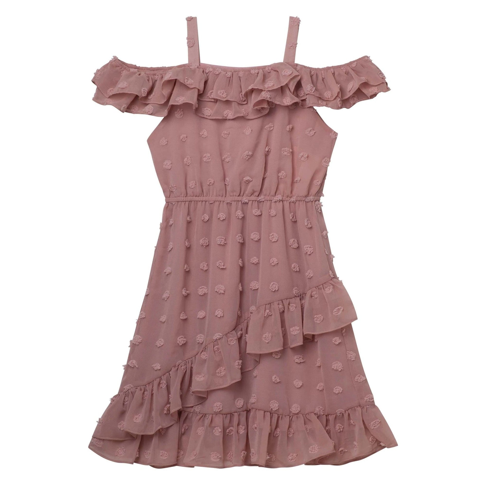 Designer Kidz Taylor Frill Dress Dusty Pink Embroidery