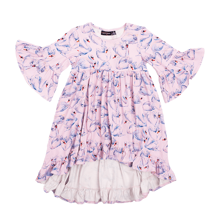 Rock Your Kid Swans Boho Dress (4636099248259)