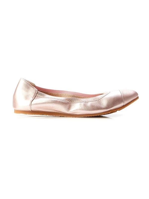 Walnut Ava Leather Ballet Flat Metallic Rose