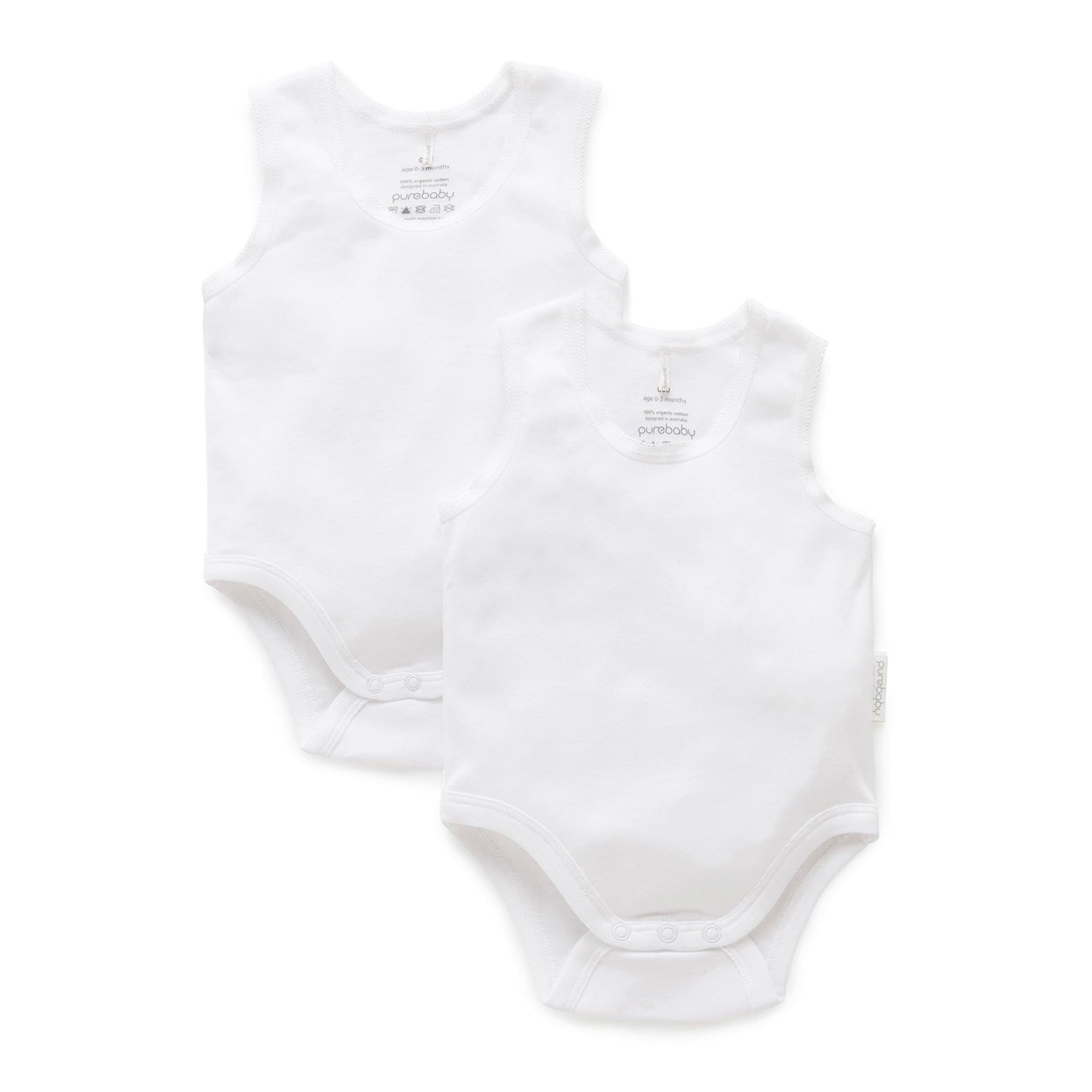 Pure Baby White Rib Bodysuit 2 Pack