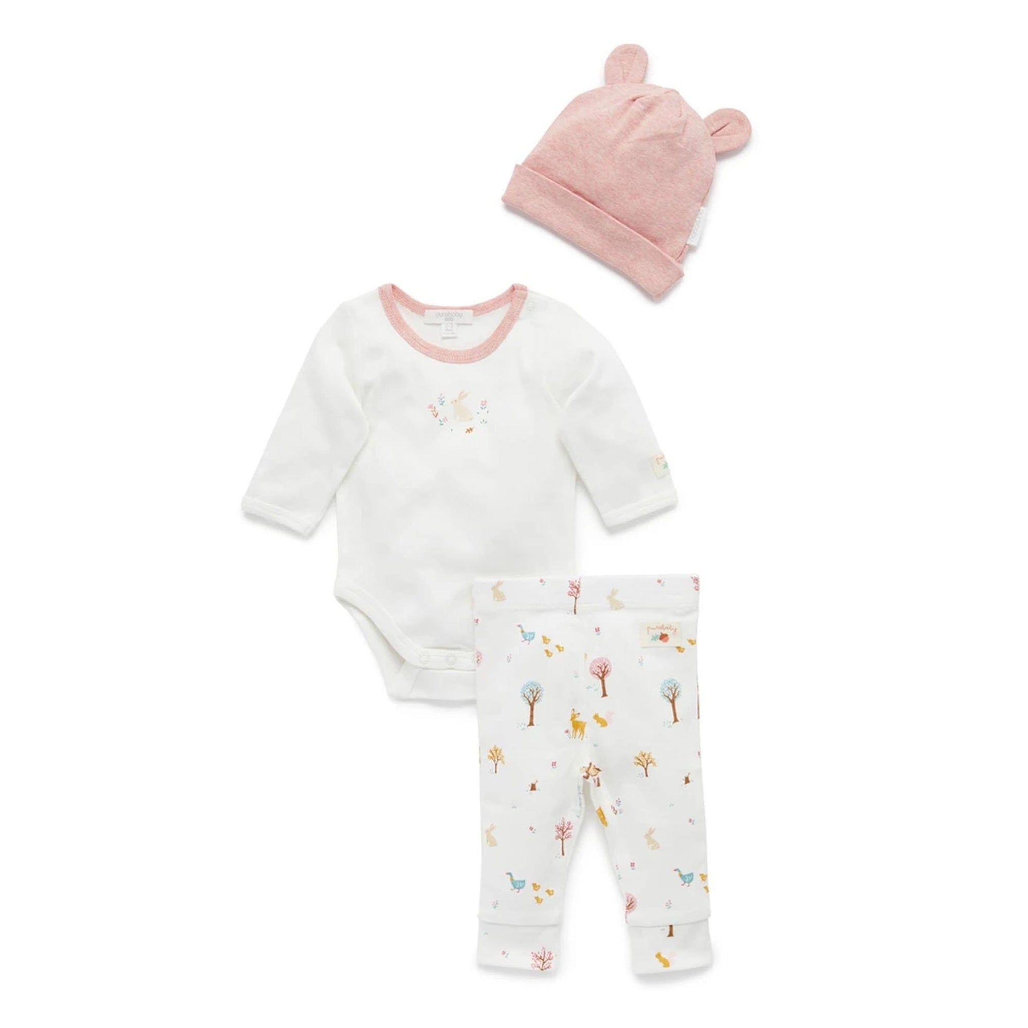 Pure Baby Girls Woodland 3 Piece Gift Set