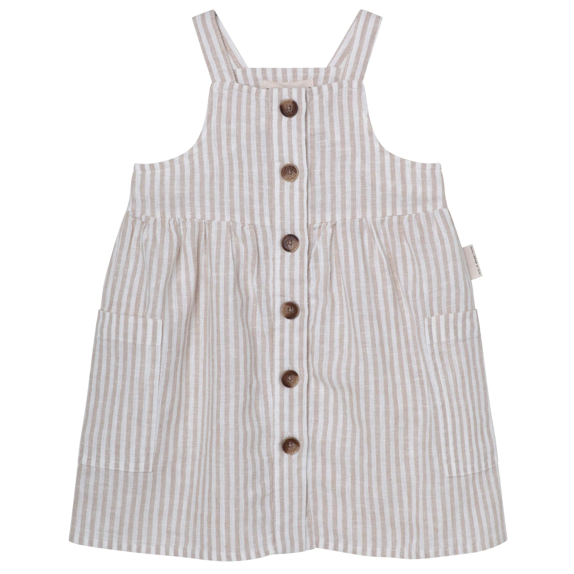 Designer Kidz Button Front Dress - Oatmeal Stripe