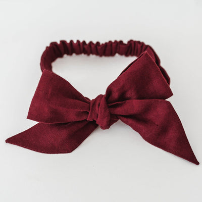 Snuggle Hunny Kids Linen Bow Pre-Tied Headband Wrap - Burgandy