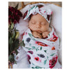 Snuggle Hunny Peony Bloom Baby Wrap Set with Top Knot Headband