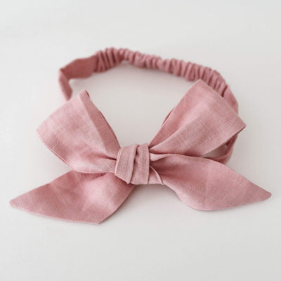 Snuggle Hunny Kids Linen Bow Pre-Tied Headband Wrap - Dusty Pink (4692524597379)