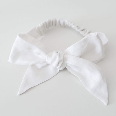Snuggle Hunny Kids Linen Bow Pre-Tied Headband Wrap - White (4692666318979)