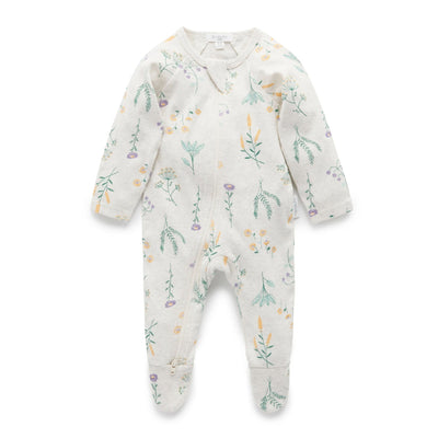 Pure Baby Printed Zip Growsuit Wild Flower (4688707092611)