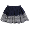 Carrement Beau Navy Embroidered Skirt