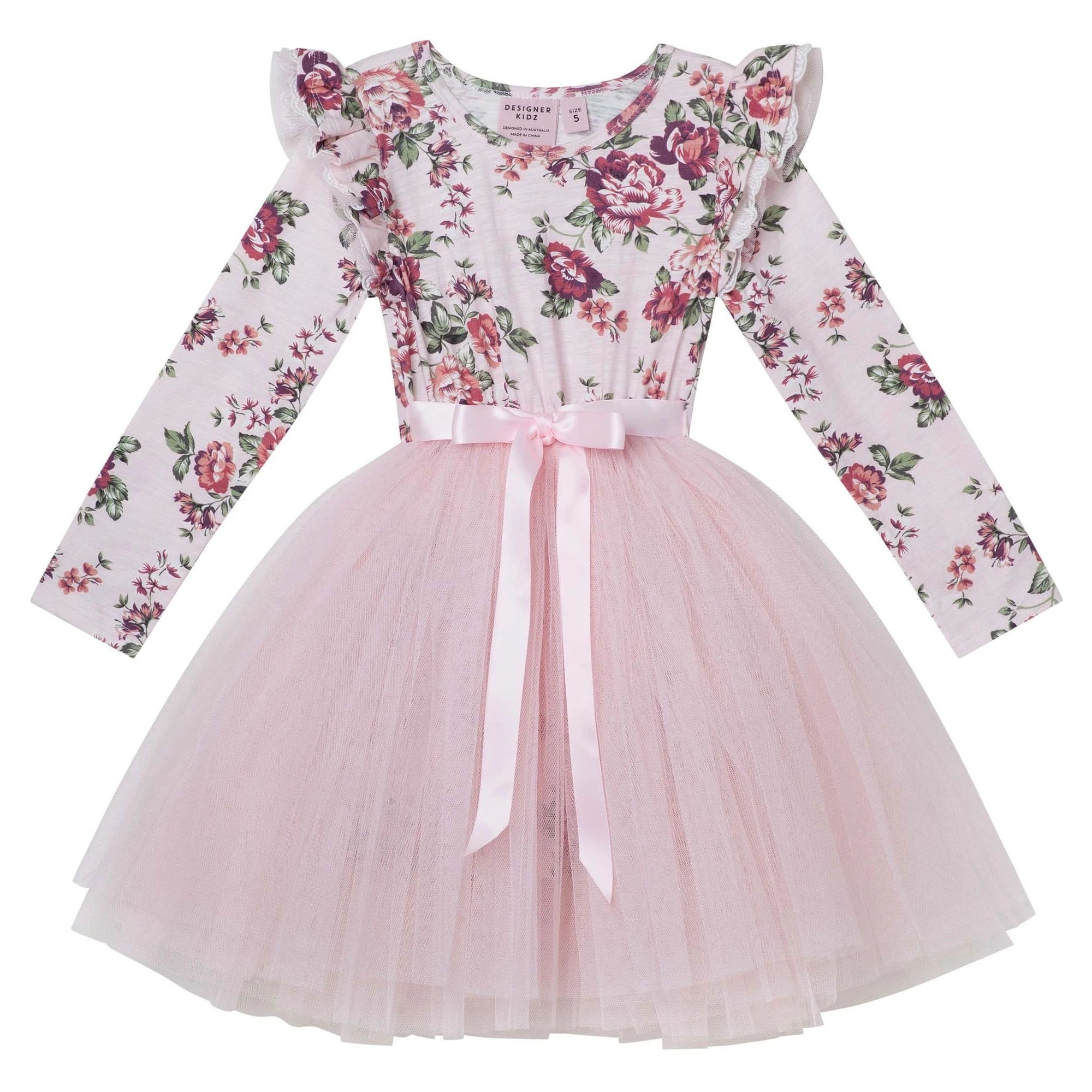 Pearl Floral L/S Tutu Dress - Pink
