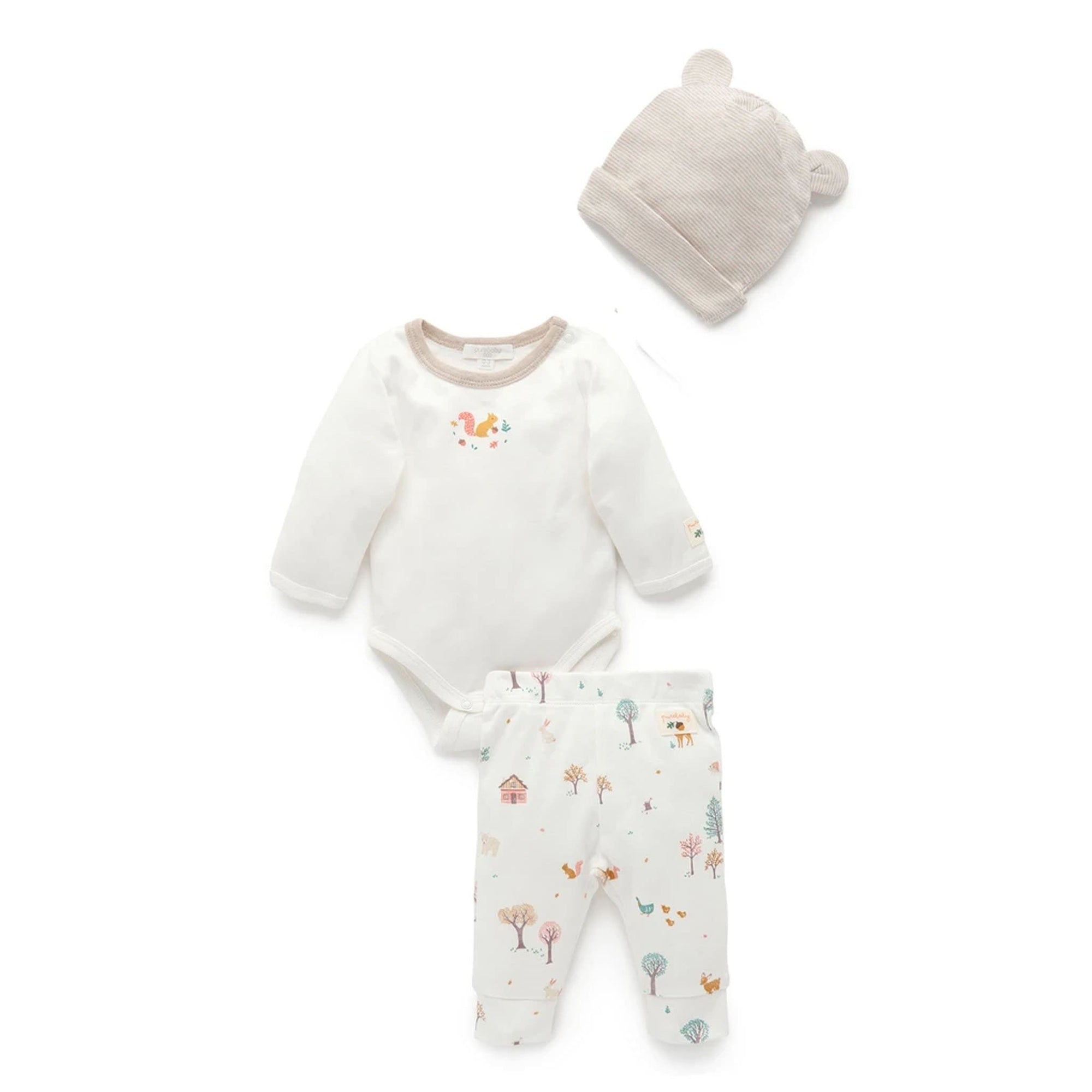 Pure Baby Boys Woodland 3 Piece Gift Pack