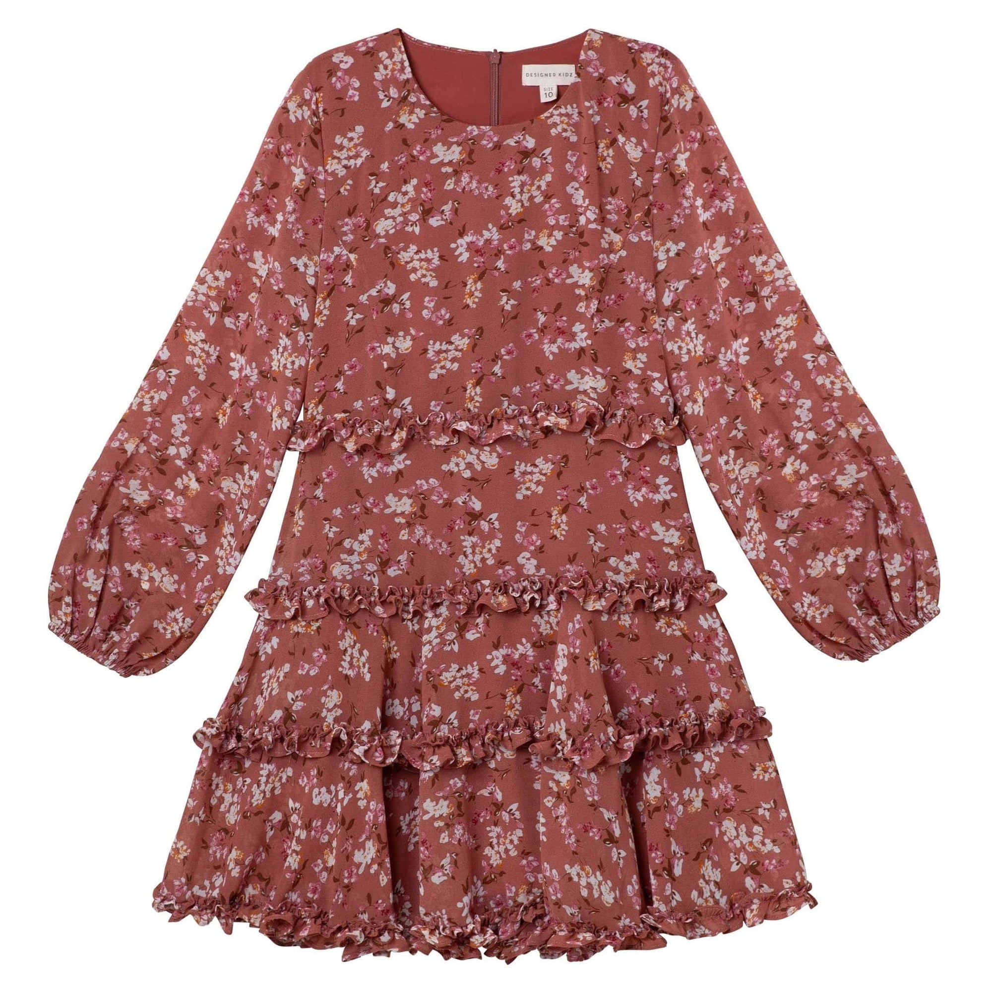 Designer Kidz Indi Floral Dress - Cinnamon