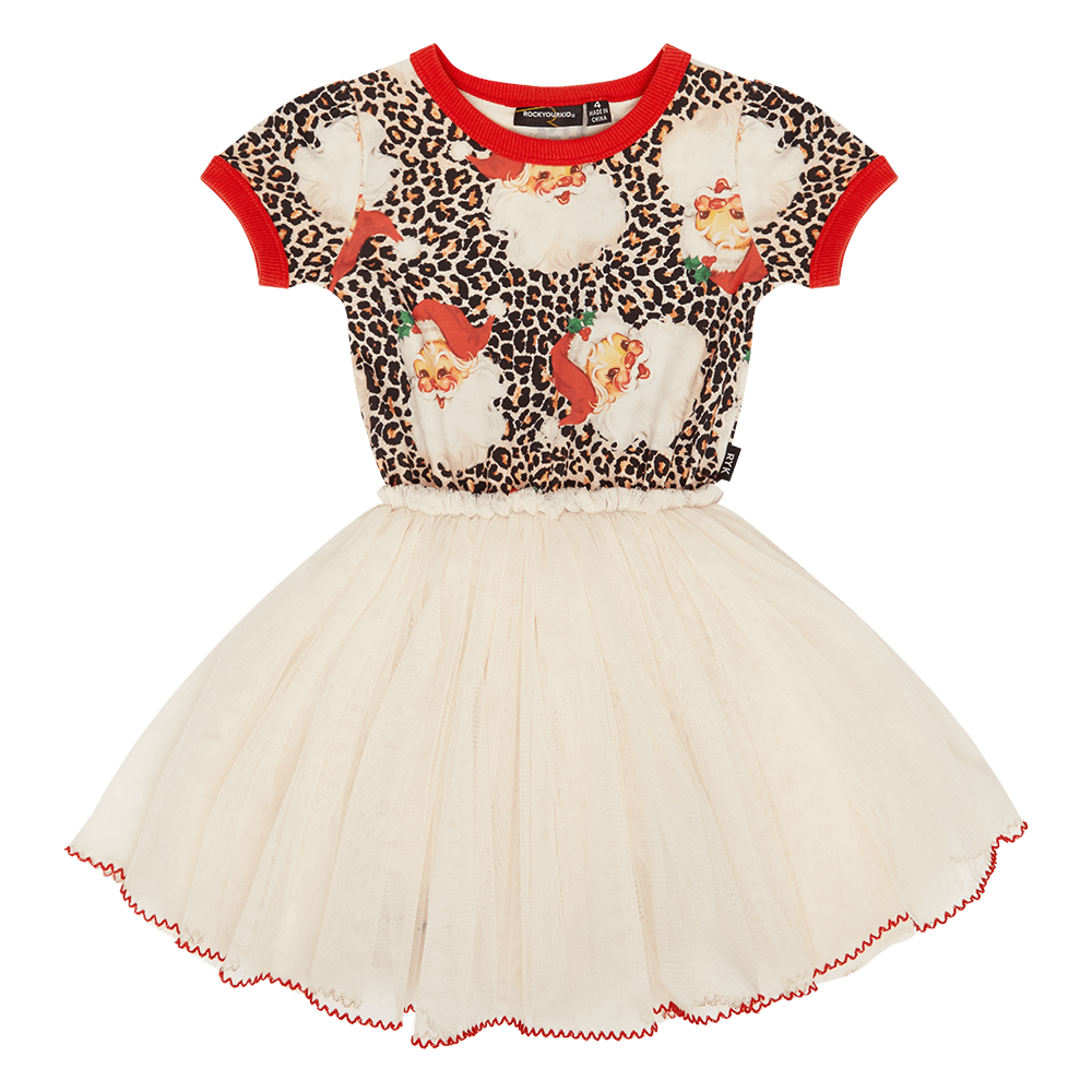 Rock Your Kid Leopard Santa Circus Dress