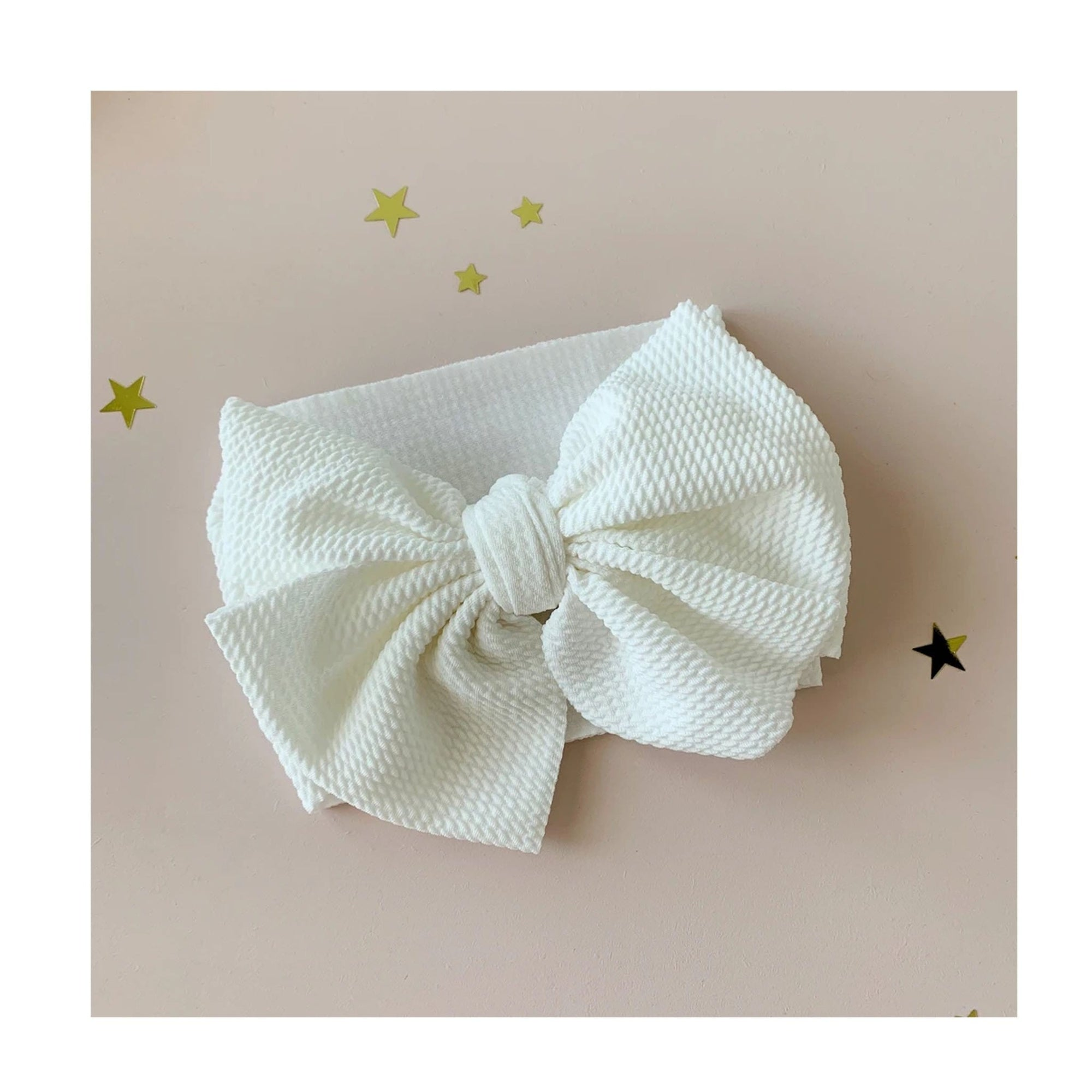 Bow Collective Halle Big Bow Headwrap White (4659760791683)