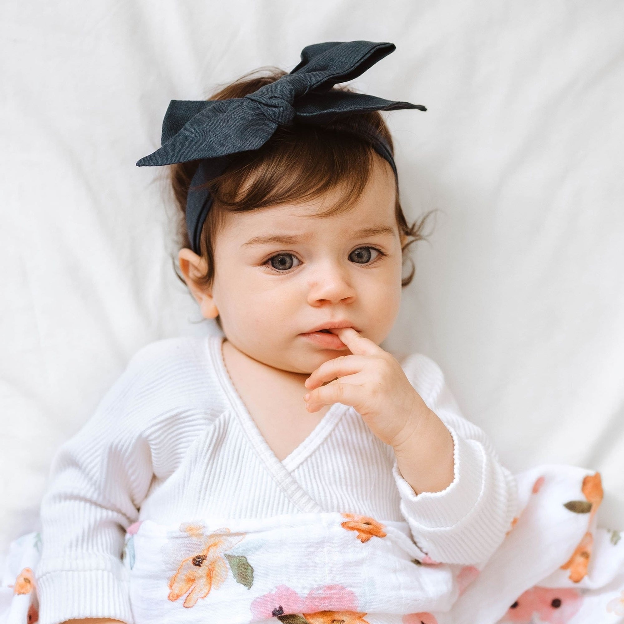 Snuggle Hunny Kids Linen Bow Pre-Tied Headband Wrap - Navy