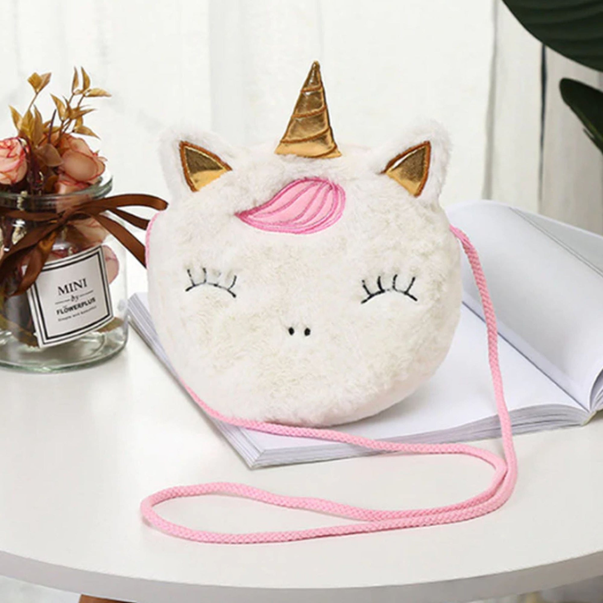Plush Unicorn Bag - White