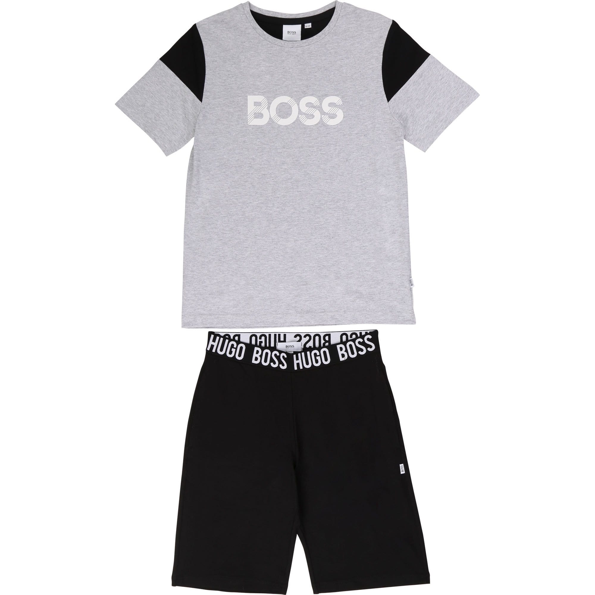 Hugo Boss T-Shirt and Short PJ Set Grey/Black J28072/M10