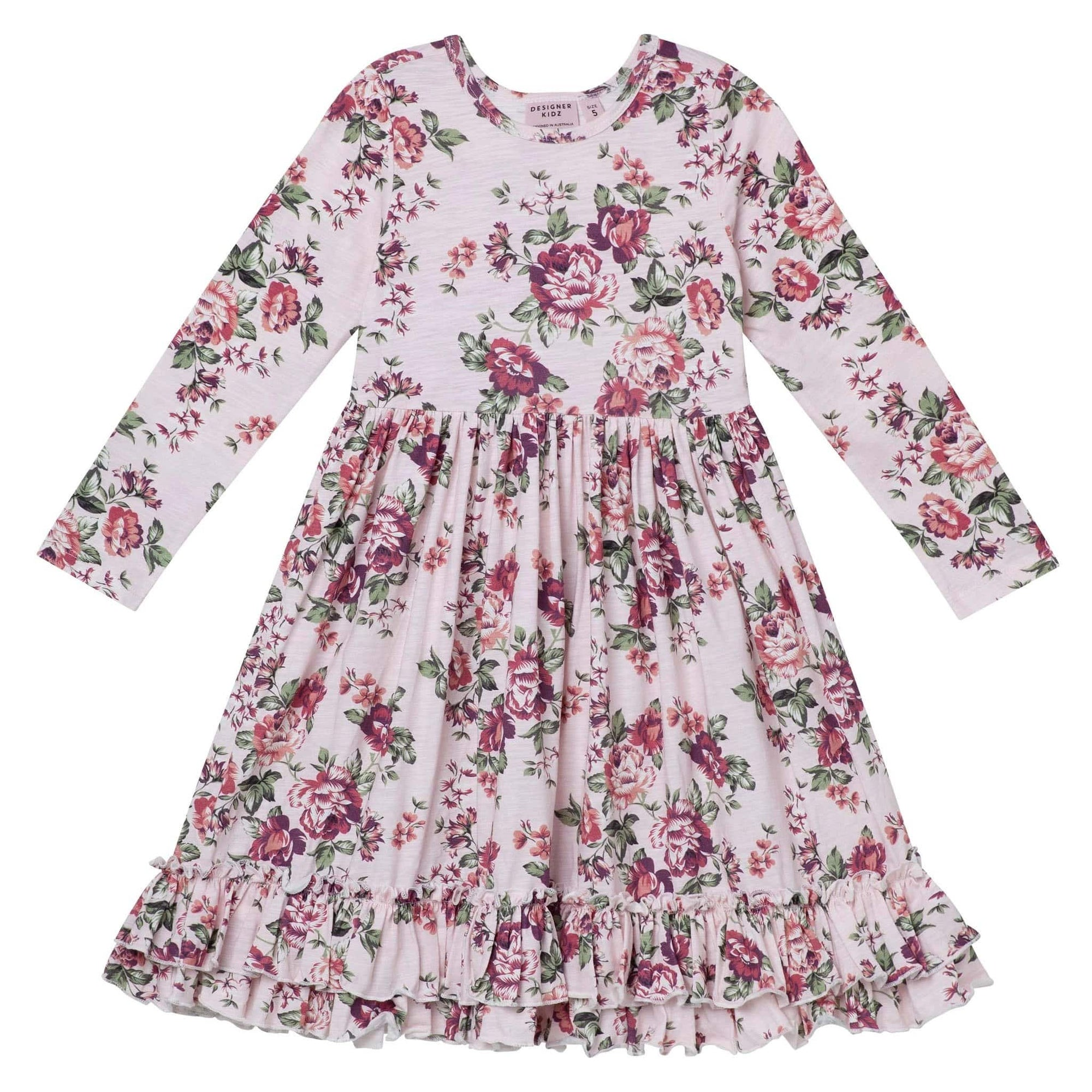 Pearl Floral L/S Swing Dress - Pink