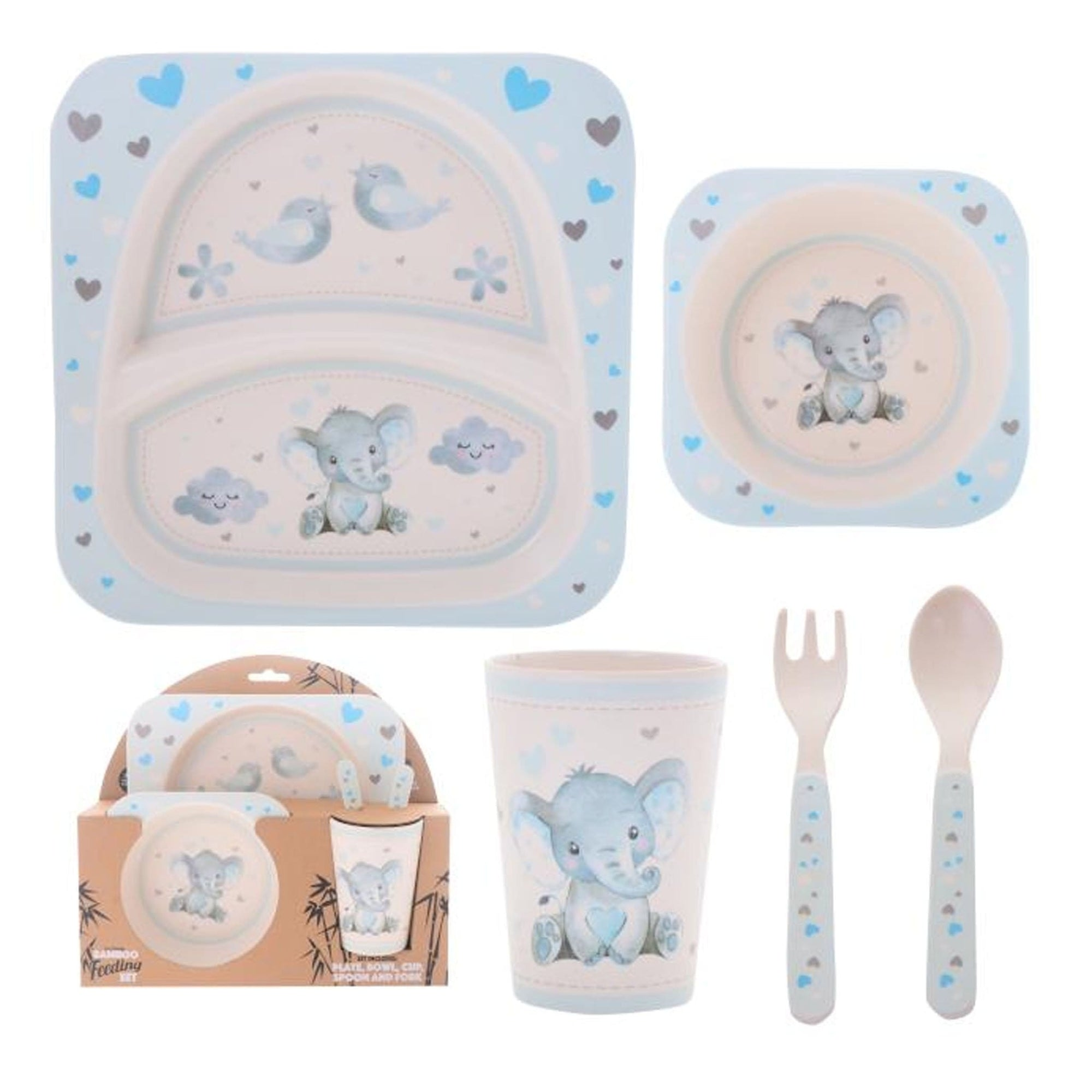 Baby Blue Elephant 5 Piece Dining Set