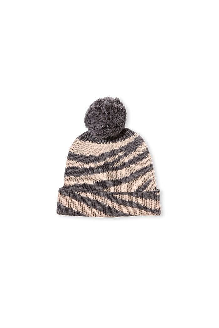 Milky Cable Knit Beanie - Natural/Grey