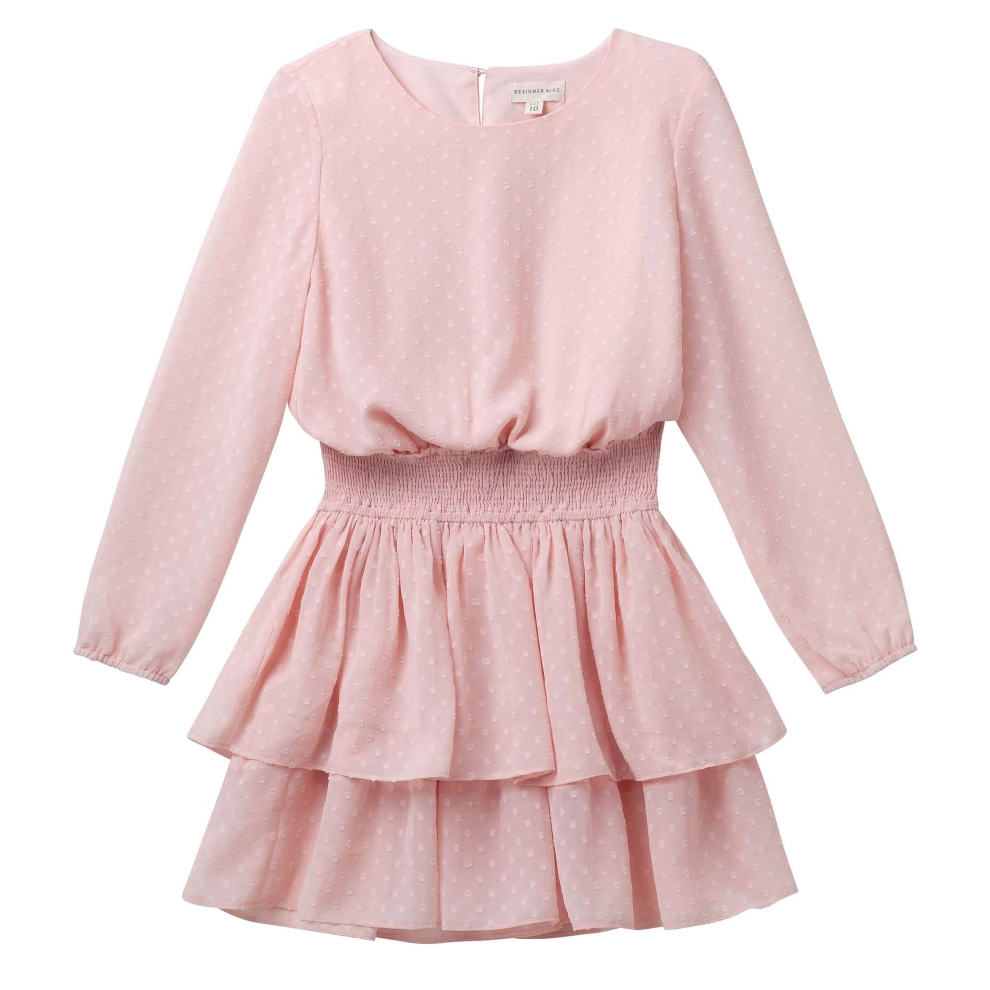 Designer Kidz Willow L/S Spot Dress - Pink