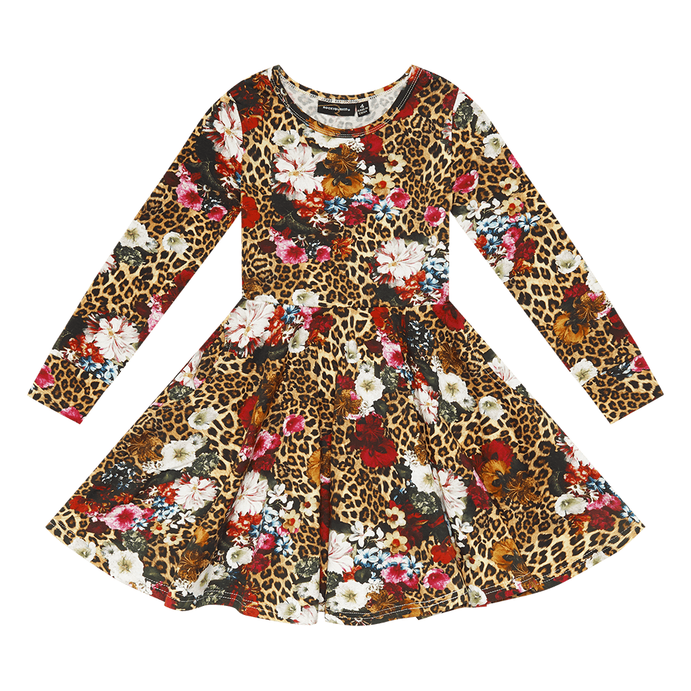 Rock Your Kid Leopard Floral Waisted Dress