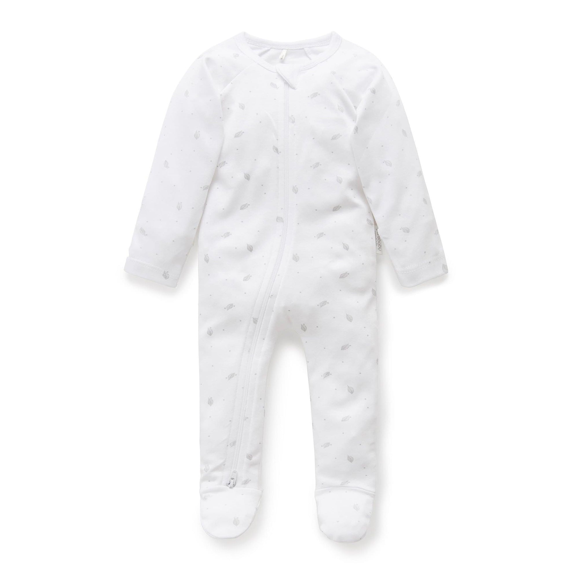 Pure Baby Pale Grey Leaf with Spots Zip Growsuit
