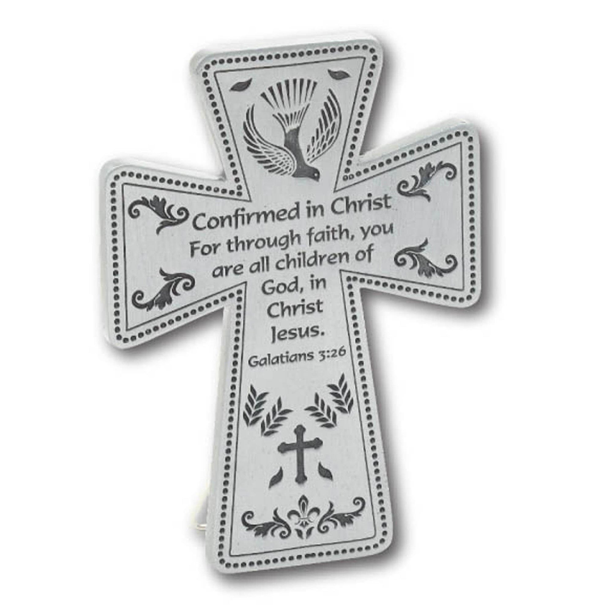 Pewter Message Cross - Confirmation