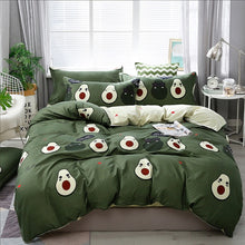 Load image into Gallery viewer, Solstice Cartoon green Printing cat head Children/kid Bedding Sets Duvet Cover Bed Sheet Pillowcase Bed Cover Linens Bedclothes