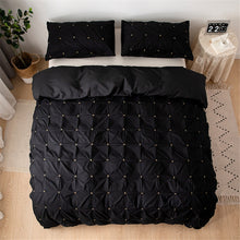 Load image into Gallery viewer, Twin Size Bedding Bed Linen Euro Set Plain Color Square Duvet Cover Set Queen Size Royal Palace Bed Covers luxury Black 5 Color
