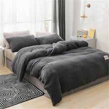 Load image into Gallery viewer, Winter flannel bedding set soft warm lamb cashmere duvet cover solid fleece flat sheet  pillowcase bed cover linen queen full