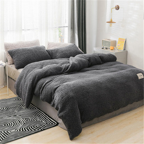 Winter flannel bedding set soft warm lamb cashmere duvet cover solid fleece flat sheet  pillowcase bed cover linen queen full
