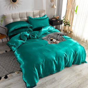 Luxury 100% Silk Bedding Set King Queen Twin 3/4/5pcs Bed Linen Solid Color Satin Bedding With Duvet Cover Bed Sheet Pillowcases