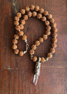Rudraksha Seeds and Crystal Necklace