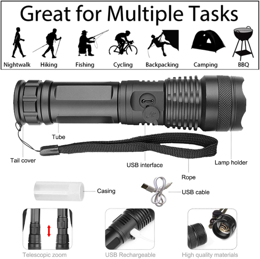 Super Led Flashlight Powerful For Outdoor Activity